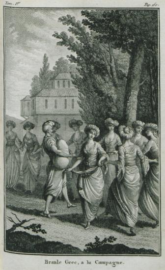 Ελληνίδες της Κωνσταντινούπολης χορεύουν στην ύπαιθρο.