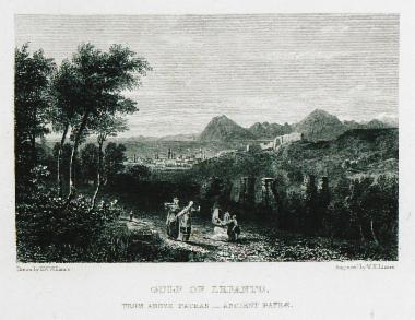Άποψη της Πάτρας και στο βάθος ο κόλπος της Ναυπάκτου.