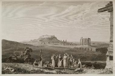 Ο ναός του Ολυμπίου Διός από το ιερό του Ιλισσού. Στο πρώτο επίπεδο γυναίκες που χορεύουν.