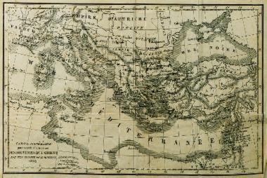 Χάρτης της Ιταλίας και της ανατολικής Μεσογείου.