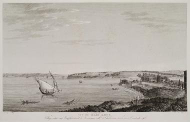 Άποψη της Χαλκηδόνας, το σημερινό Καντί Κιόι. Στο βάθος φαίνεται ο Πύργος του Λεάνδρου και τμήμα της Βοσπόριας Άκρας.