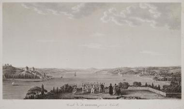 Άποψη από το Καντιλί στην ανατολική ακτή του Βοσπόρου. Στο πρώτο επίπεδο γυναίκες χορεύουν με τη συνοδεία μουσικής. Στα αριστερά διακρίνεται το Κάστρο της Ανατολής.