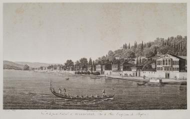 Άποψη του Βαθυρρύακα, σήμερα Μπουγιούκ Ντερέ, στη βορειοδυτική ακτή του Βοσπόρου. Στο πρώτο επίπεδο, Οθωμανοί χορεύουν πάνω σε λέμβο με τη συνοδεία μουσικής.
