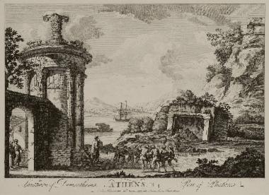 Σύνθεση: Το Χορηγικό Μνημείο του Λυσικράτη μαζί με άποψη του λιμανιού του Φαλήρου.