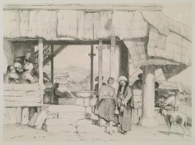 Καφενείο στην ακτή του Βοσπόρου, κάπου κοντά στο Σκούταρι. Στο βάθος διακρίνεται το Τέμενος της Σουλτάνας Μιχριμάχ.