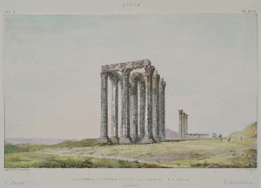 Ο Ναός του Ολυμπίου Διός στην Αθήνα. Στο βάθος διακρίνεται η Πύλη του Αδριανού και στα δεξιά η Ακρόπολη.