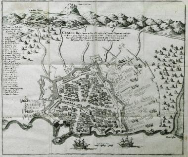 Άποψη του Χάνδακα, στα 1667-1668, κατά την πολιορκία του από τους Οθωμανούς. Ύστερα από είκοσι τέσσερα χρόνια πολιορκίας της πόλης (1645-1669), η Κρήτη θα περάσει τελικά από τους Ενετούς στους Οθωμανούς, το 1669.