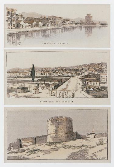 Το λιμάνι της Θεσσαλονίκης και ο Λευκός Πύργος, άποψη της πόλης και άποψη των τειχών. Από την έκδοση του Marius Bernard, Turquie d'Europe et d'Asie. De Salonique à Jérusalem, Παρίσι, Henri Laurent, 1899.