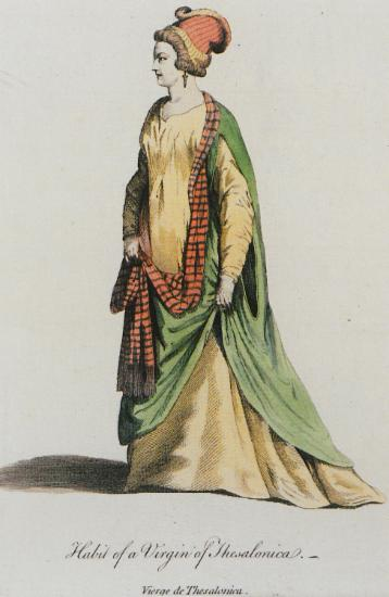 Ανύπαντρη γυναίκα από τη Θεσσαλονίκη. Από την έκδοση A collection of the dresses of different nations, ancient and modern..., Λονδίνο, T. Jefferys (εκδ.), 1757.