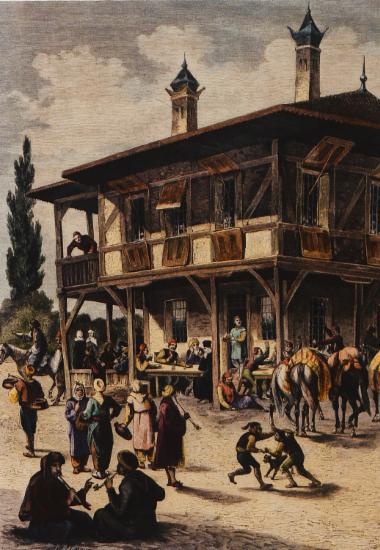 Χάνι στον δρόμο για τη Θεσσαλονίκη, σύμφωνα με την περιγραφή του Vladimir Zittelbach. Από το Das Buch für Alle, 1850.