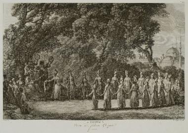 Ελληνικός (ρωμαίικος) χορός γυναικών στην Κωνσταντινούπολη.