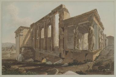 Το Ερέχθειο από τα νοτιοδυτικά. Στο βάθος αριστερά, σύνολο αποτελούμενο από Τούρκους μουσικούς, οι οποίοι συνήθιζαν να παίζουν στην Ακρόπολη καθημερινά στις τρεις το απόγευμα.