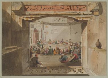 Σύναξη πιστών στο Υδραυλικό Ωρολόγιο του Ανδρονίκου Κυρρήστου (Αέρηδες), που λειτουργούσε ως τεκές (λατρευτικός χώρος) των Δερβίσηδων. Από την οροφή κρέμονται δεκαέξι αυγά στρουθοκαμήλου, για να αποτρέψουν το κακό μάτι. Απεικονίζεται η πρώτη φάση της τελετουργίας του χορού των Δερβίσηδων: οι πιστοί υμνούν τον Θεό και τον Προφήτη Μωάμεθ.