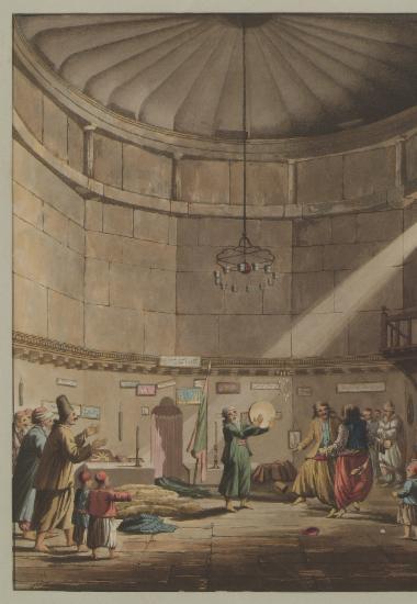 Χορός των Δερβίσηδων στο Υδραυλικό Ωρολόγιο του Ανδρονίκου Κυρρήστου (Αέρηδες) που λειτουργούσε ως τεκές (λατρευτικός χώρος) των Δερβίσηδων. Από την οροφή κρέμονται δεκαέξι αυγά στρουθοκαμήλου, για να αποτρέψουν το κακό μάτι. Απεικονίζεται η τελική φάση του χορού των Δερβίσηδων, κατά την οποία οι δύο κύριοι χορευτές στροβιλίζονται κρατώντας ο ένας τον άλλο από τη ζώνη. Με πράσινη ενδυμασία και λευκό τουρμπάνι, ο σεΐχης ή επικεφαλής των Δερβίσηδων, ο οποίος εμψύχωνε τους χορευτές κρούοντας το κύμβαλο.