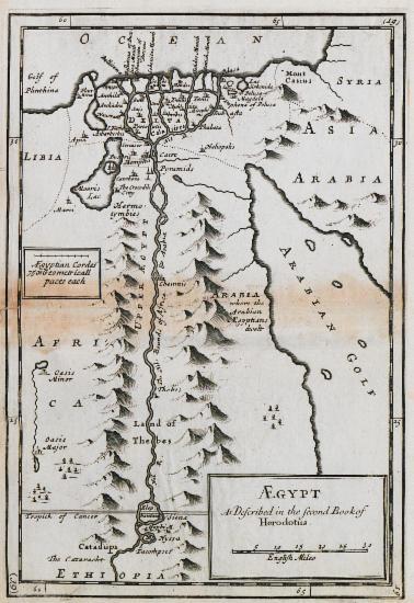 Χάρτης της Αιγύπτου σύμφωνα με την περιγραφή του Ηροδότου.