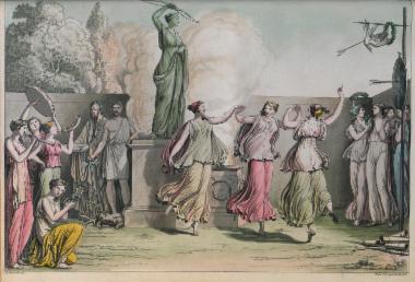 Προμετωπίδα: Σκηνή χορού μπροστά στον βωμό της Άρτεμης.