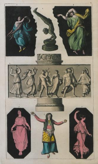 Παραστάσεις χορού από αρχαία ελληνικά αγγεία και ανάγλυφα. 6. Ηπειρώτισσα γυναίκα που χορεύει (από την έκδοση του J.C. Hobhouse, 1813).