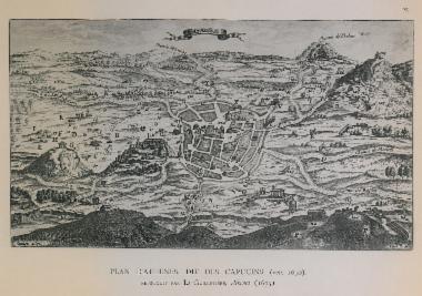 Άποψη της Αθήνας κατά τους Καπουτσίνους μοναχούς της πόλης. Σχέδιο από την έκδοση του André Georges Guillet