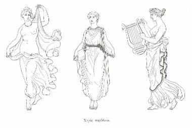 Παράσταση γυναικών που χορεύουν και παίζουν μουσική (φανταστική απεικόνιση).