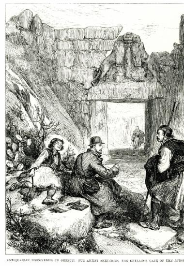 Ο βρετανός σκιτσογράφος της εφημερίδας Illustrated London News σχεδιάζει την Πύλη των Λεόντων στις Μυκήνες.