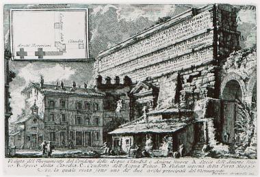 Άποψη της Πύλης Ματζόρε στη Ρώμη. Στην ένθετη παράσταση, κάτοψη της σύζευξης των υδραγωγείων Ματζόρε και Άνιο Νόβους. Η επιγραφή στην πύλη γράφει: TI. CLAUDIUS DRUSI F. CAISAR AUGUSTUS GERMANICUS PONTIF. MAXIM., TRIBUNICIA POTESTATE XII, COS. V, IMPERATOR XXVII, PATER PATRIAE, AQUAS CLAUDIAM EX FONTIBUS, QUI VOCABANTUR CAERULEUS ET CURTIUS A MILLIARIO XXXXV, ITEM ANIENEM NOVAM A MILLIARIO LXII SUA IMPENSA IN URBEM PERDUCENDAS CURAVIT...