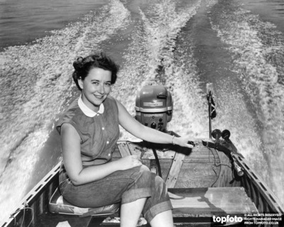 Woman outboard cruising