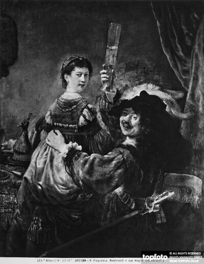 Rembrandt toasting with his wife