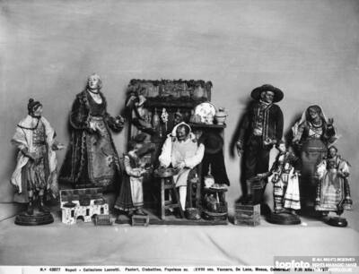 Small Christmas creche statues, by