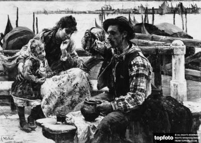The gondolier's breakfast, painting by