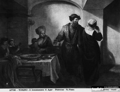 Abraham repudiating Hagar. Painting by