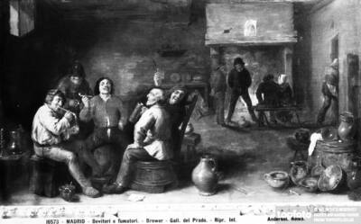 Drinkers and smokers, painting by