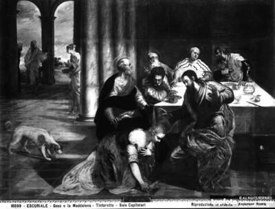Jesus Christ and Magdalein washing