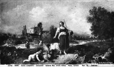 Rural scene, painting by Francesco