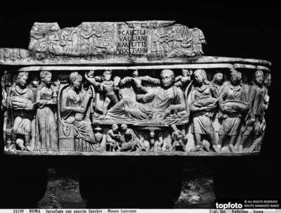 Christian sarcophagus with a funeral