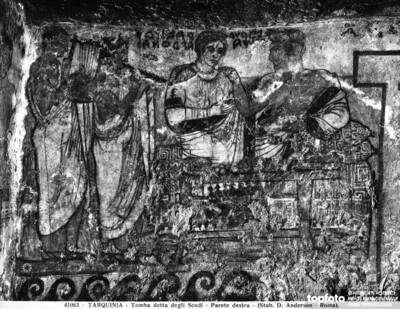 Banquet scene, detail of a