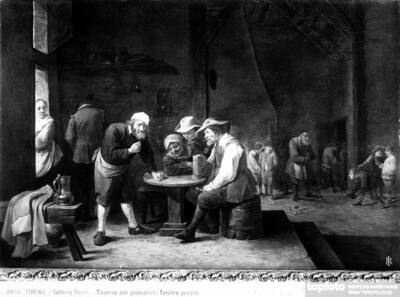 Tavern with cheerful drinkers. Painting