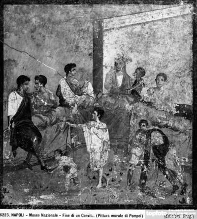 Pompeian wall painting representing a