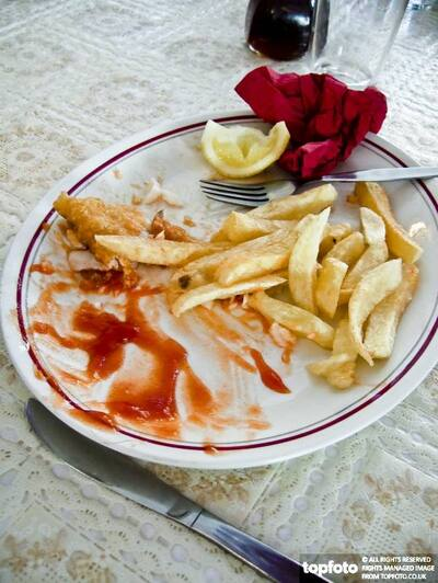 Leftovers on plate after eating
