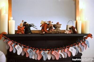 Chimneypiece decorated for Christmas with