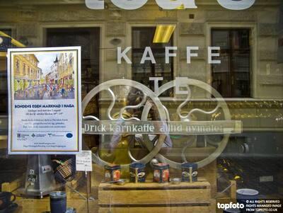 Window of coffee roasting shop