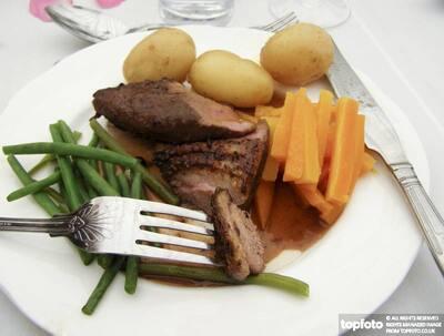 Roast duck breast with gravy,