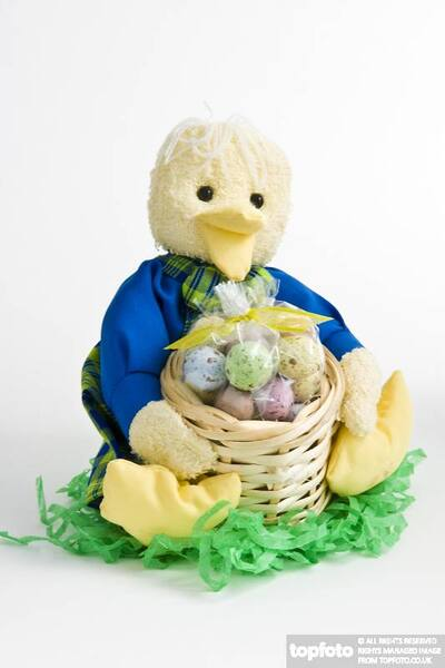 Cute duckling ornament with basket