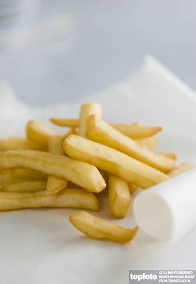 Deep fried potato chips on