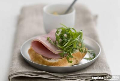 Open sandwich of crusty pain