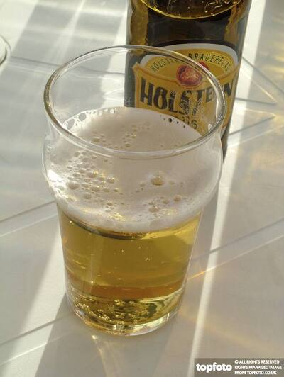 Half glass of beer