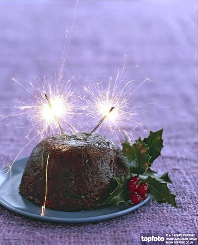 Xmas pud with sparklers