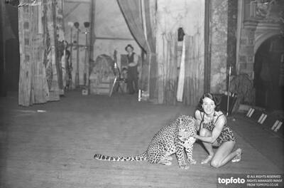 Leopard and trainer