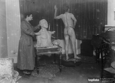 McAlister at work on her bust