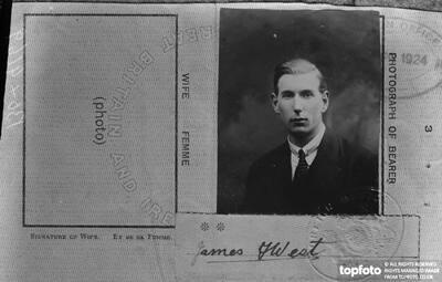 Passport photograph of Mr James