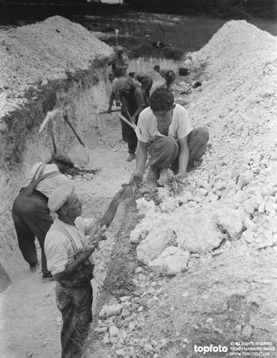 Digging a trench in search